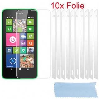 Cadorabo Displayschutzfolien für Nokia Lumia 630 - Schutzfolien in HIGH CLEAR ? 10 Stück hochtransparenter Schutzfolien gegen Staub, Schmutz und Kratzer