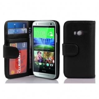 Cadorabo Hülle für HTC ONE M8 MINI (2.Gen.) in OXID SCHWARZ ? Handyhülle mit Magnetverschluss und 3 Kartenfächern ? Case Cover Schutzhülle Etui Tasche Book Klapp Style