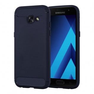 Cadorabo Hülle für Samsung Galaxy A3 2017 (7) - Hülle in BRUSHED BLAU - Handyhülle aus TPU Silikon in Edelstahl-Karbonfaser Optik - Silikonhülle Schutzhülle Ultra Slim Soft Back Cover Case Bumper