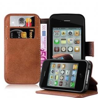 Cadorabo Hülle für Apple iPhone 4 / iPhone 4S - Hülle in MATT BRAUN ? Handyhülle mit Standfunktion und Kartenfach im Retro Design - Case Cover Schutzhülle Etui Tasche Book Klapp Style