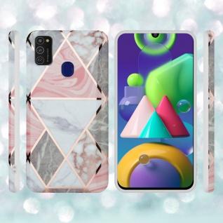 Cadorabo Hülle für Samsung Galaxy M21 / M30s Hülle in Pink grau weiß Marmor No.10 Handyhülle aus TPU Silikon mit Muster Mosaik Silikonhülle Schutzhülle Ultra Slim Back Cover Case Bumper - Vorschau 5