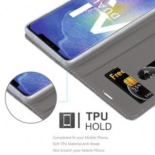Cadorabo Hülle für Huawei MATE 20 PRO in HELL GRAU BRAUN - Handyhülle mit Magnetverschluss, Standfunktion und Kartenfach - Case Cover Schutzhülle Etui Tasche Book Klapp Style - Vorschau 2