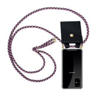 Cadorabo Handy Kette für Samsung Galaxy S20 PLUS in ROT WEISS Silikon Necklace Umhänge Hülle mit Gold Ringen, Kordel Band Schnur und abnehmbarem Etui Schutzhülle