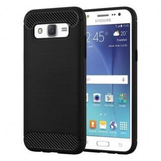 Cadorabo Hülle für Samsung Galaxy J7 2015 (5) - Hülle in BRUSHED SCHWARZ - Handyhülle aus TPU Silikon in Edelstahl-Karbonfaser Optik - Silikonhülle Schutzhülle Ultra Slim Soft Back Cover Case Bumper
