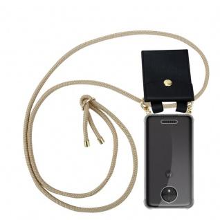 Cadorabo Handy Kette für Motorola MOTO C PLUS in GLÄNZEND BRAUN Silikon Necklace Umhänge Hülle mit Gold Ringen, Kordel Band Schnur und abnehmbarem Etui Schutzhülle
