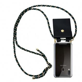 Cadorabo Handy Kette für Samsung Galaxy A20e in CAMOUFLAGE Silikon Necklace Umhänge Hülle mit Gold Ringen, Kordel Band Schnur und abnehmbarem Etui Schutzhülle