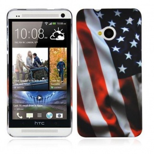 Cadorabo - Hard Cover für HTC ONE M7 (1.Generation) - Case Cover Schutzhülle Bumper im Design: STARS AND STRIPES