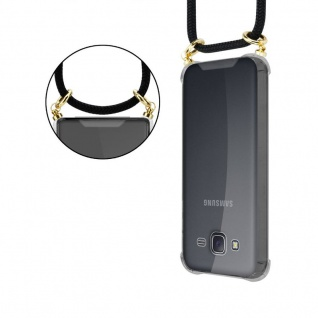 Cadorabo Handy Kette für Samsung Galaxy J5 2015 in SCHWARZ ? Silikon Necklace Umhänge Hülle mit Gold Ringen, Kordel Band Schnur und abnehmbarem Etui ? Schutzhülle - Vorschau 2
