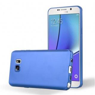 Cadorabo Hülle für Samsung Galaxy NOTE 5 in METALLIC BLAU - Handyhülle aus flexiblem TPU Silikon - Silikonhülle Schutzhülle Ultra Slim Soft Back Cover Case Bumper