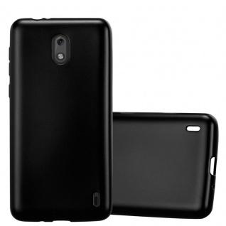 Cadorabo Hülle für Nokia 2 2017 in METALLIC SCHWARZ - Handyhülle aus flexiblem TPU Silikon - Silikonhülle Schutzhülle Ultra Slim Soft Back Cover Case Bumper