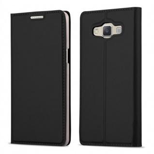 Cadorabo Hülle für Samsung Galaxy A3 2015 in CLASSY SCHWARZ - Handyhülle mit Magnetverschluss, Standfunktion und Kartenfach - Case Cover Schutzhülle Etui Tasche Book Klapp Style