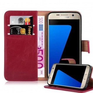Cadorabo Hülle für Samsung Galaxy S7 in WEIN ROT ? Handyhülle mit Magnetverschluss, Standfunktion und Kartenfach ? Case Cover Schutzhülle Etui Tasche Book Klapp Style