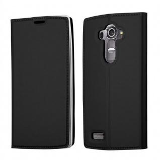 Cadorabo Hülle für LG G4 in CLASSY SCHWARZ - Handyhülle mit Magnetverschluss, Standfunktion und Kartenfach - Case Cover Schutzhülle Etui Tasche Book Klapp Style
