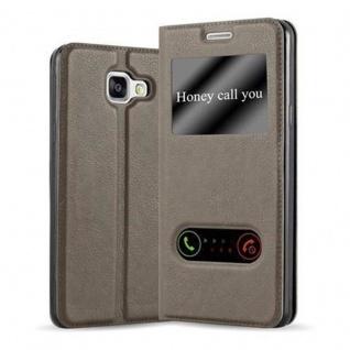Cadorabo Hülle für Samsung Galaxy A3 2016 in STEIN BRAUN ? Handyhülle mit Magnetverschluss, Standfunktion und 2 Sichtfenstern ? Case Cover Schutzhülle Etui Tasche Book Klapp Style