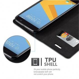 Cadorabo Hülle für HTC 10 (One M10) in NACHT SCHWARZ - Handyhülle mit Magnetverschluss, Standfunktion und Kartenfach - Case Cover Schutzhülle Etui Tasche Book Klapp Style - Vorschau 4