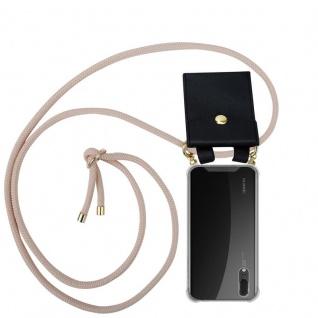 Cadorabo Handy Kette für Huawei P20 in PERLIG ROSÉGOLD - Silikon Necklace Umhänge Hülle mit Gold Ringen, Kordel Band Schnur und abnehmbarem Etui ? Schutzhülle