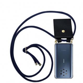 Cadorabo Handy Kette für Nokia 9 Pure View in TIEF BLAU - Silikon Necklace Umhänge Hülle mit Gold Ringen, Kordel Band Schnur und abnehmbarem Etui ? Schutzhülle