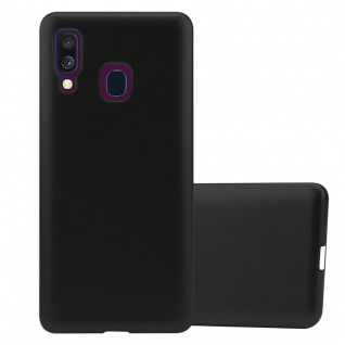 Cadorabo Hülle für Samsung Galaxy A40 in METALLIC SCHWARZ - Handyhülle aus flexiblem TPU Silikon - Silikonhülle Schutzhülle Ultra Slim Soft Back Cover Case Bumper