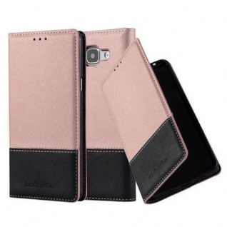 Cadorabo Hülle für Samsung Galaxy A5 2016 in ROSÉ GOLD SCHWARZ - Handyhülle mit Magnetverschluss, Standfunktion und Kartenfach - Case Cover Schutzhülle Etui Tasche Book Klapp Style