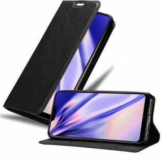 Cadorabo Hülle für Vivo Y81i in NACHT SCHWARZ - Handyhülle mit Magnetverschluss, Standfunktion und Kartenfach - Case Cover Schutzhülle Etui Tasche Book Klapp Style