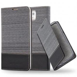 Cadorabo Hülle für Samsung Galaxy NOTE 3 - Hülle in GRAU SCHWARZ ? Handyhülle mit Standfunktion und Kartenfach im Stoff Design - Case Cover Schutzhülle Etui Tasche Book