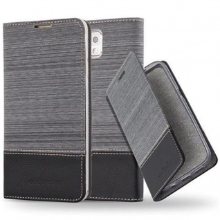 Cadorabo Hülle für Samsung Galaxy NOTE 3 in GRAU SCHWARZ - Handyhülle mit Magnetverschluss, Standfunktion und Kartenfach - Case Cover Schutzhülle Etui Tasche Book Klapp Style