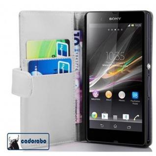 Cadorabo Hülle für Sony Xperia Z (1. Gen.) in POLAR WEIß - Handyhülle aus glattem Kunstleder mit Standfunktion und Kartenfach - Case Cover Schutzhülle Etui Tasche Book Klapp Style