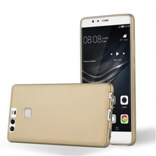 Cadorabo Hülle für Huawei P9 in METALLIC GOLD - Handyhülle aus flexiblem TPU Silikon - Silikonhülle Schutzhülle Ultra Slim Soft Back Cover Case Bumper