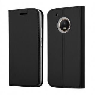 Cadorabo Hülle für Motorola MOTO G5 PLUS in CLASSY SCHWARZ - Handyhülle mit Magnetverschluss, Standfunktion und Kartenfach - Case Cover Schutzhülle Etui Tasche Book Klapp Style