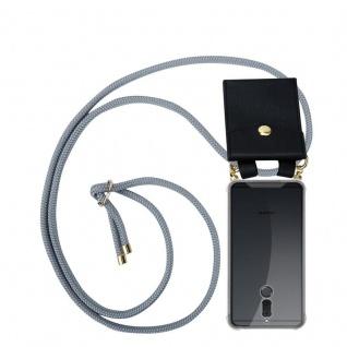 Cadorabo Handy Kette für Huawei MATE 10 / NOVA 2i in SILBER GRAU - Silikon Necklace Umhänge Hülle mit Gold Ringen, Kordel Band Schnur und abnehmbarem Etui ? Schutzhülle