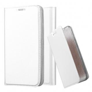 Cadorabo Hülle für LG G2 MINI in CLASSY SILBER Handyhülle mit Magnetverschluss, Standfunktion und Kartenfach Case Cover Schutzhülle Etui Tasche Book Klapp Style