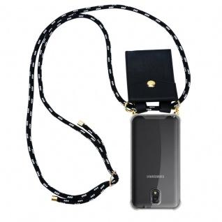 Cadorabo Handy Kette für Samsung Galaxy NOTE 3 in SCHWARZ SILBER ? Silikon Necklace Umhänge Hülle mit Gold Ringen, Kordel Band Schnur und abnehmbarem Etui ? Schutzhülle