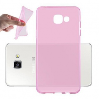Cadorabo Hülle für Samsung Galaxy A3 2016 in TRANSPARENT PINK - Handyhülle aus flexiblem TPU Silikon - Silikonhülle Schutzhülle Ultra Slim Soft Back Cover Case Bumper