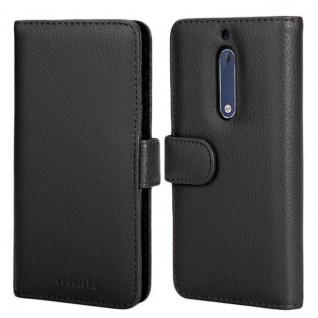 Cadorabo Hülle für Nokia 5 2017 in OXID SCHWARZ ? Handyhülle mit Magnetverschluss und 3 Kartenfächern ? Case Cover Schutzhülle Etui Tasche Book Klapp Style - Vorschau 3