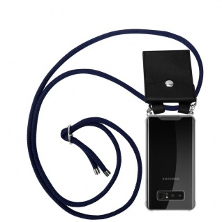 Cadorabo Handy Kette für Samsung Galaxy NOTE 8 in TIEF BLAU - Silikon Necklace Umhänge Hülle mit Silber Ringen, Kordel Band Schnur und abnehmbarem Etui - Schutzhülle