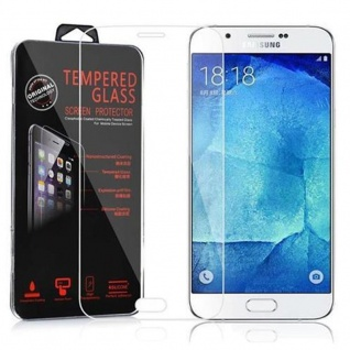 Cadorabo Panzer Folie für Samsung Galaxy A8 2015 - Schutzfolie in KRISTALL KLAR - Gehärtetes (Tempered) Display-Schutzglas in 9H Härte mit 3D Touch Kompatibilität