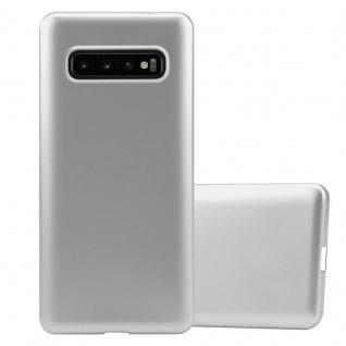 Cadorabo Hülle für Samsung Galaxy S10 PLUS in METALLIC SILBER - Handyhülle aus flexiblem TPU Silikon - Silikonhülle Schutzhülle Ultra Slim Soft Back Cover Case Bumper