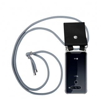 Cadorabo Handy Kette für LG V40 in SILBER GRAU Silikon Necklace Umhänge Hülle mit Silber Ringen, Kordel Band Schnur und abnehmbarem Etui Schutzhülle