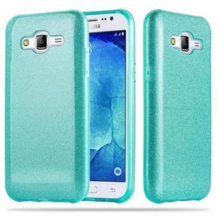 Cadorabo Hülle für Samsung Galaxy J5 2015 - Hülle in STERNENSTAUB TÜRKIS ? TPU Silikon und Hardcase Handyhülle im Glitzer Design - Hard Case TPU Silikon Schutzhülle - Vorschau 1