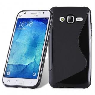 Cadorabo Hülle für Samsung Galaxy J5 2015 in OXID SCHWARZ - Handyhülle aus flexiblem TPU Silikon - Silikonhülle Schutzhülle Ultra Slim Soft Back Cover Case Bumper