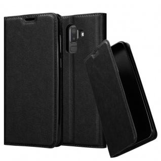 Cadorabo Hülle für Samsung Galaxy J8 2018 in NACHT SCHWARZ - Handyhülle mit Magnetverschluss, Standfunktion und Kartenfach - Case Cover Schutzhülle Etui Tasche Book Klapp Style - Vorschau 1