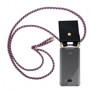 Cadorabo Handy Kette für LG K50 in ROT WEISS - Silikon Necklace Umhänge Hülle mit Gold Ringen, Kordel Band Schnur und abnehmbarem Etui ? Schutzhülle