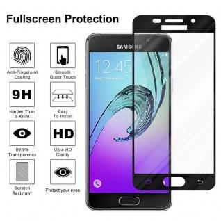 Cadorabo Vollbild Panzer Folie für Samsung Galaxy A5 2016 - Schutzfolie in TRANSPARENT mit SCHWARZ - Gehärtetes (Tempered) Display-Schutzglas in 9H Härte mit 3D Touch Kompatibilität - Vorschau 4