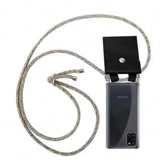 Cadorabo Handy Kette für Samsung Galaxy A31 in RAINBOW Silikon Necklace Umhänge Hülle mit Silber Ringen, Kordel Band Schnur und abnehmbarem Etui Schutzhülle