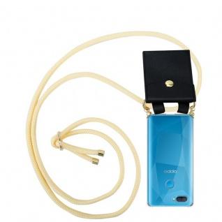 Cadorabo Handy Kette für Oppo A12 in CREME BEIGE Silikon Necklace Umhänge Hülle mit Gold Ringen, Kordel Band Schnur und abnehmbarem Etui Schutzhülle