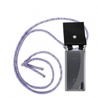 Cadorabo Handy Kette für Samsung Galaxy A11 in UNICORN Silikon Necklace Umhänge Hülle mit Silber Ringen, Kordel Band Schnur und abnehmbarem Etui Schutzhülle