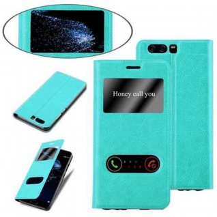 Cadorabo Hülle für Huawei P10 in MINT TÜRKIS - Handyhülle mit Magnetverschluss, Standfunktion und 2 Sichtfenstern - Case Cover Schutzhülle Etui Tasche Book Klapp Style - Vorschau 4