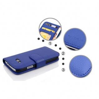 Cadorabo Hülle für HTC ONE M8 MINI (2.Gen.) in NEPTUN BLAU - Handyhülle mit Magnetverschluss und 3 Kartenfächern - Case Cover Schutzhülle Etui Tasche Book Klapp Style - Vorschau 3