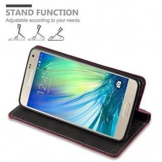 Cadorabo Hülle für Samsung Galaxy A5 2015 in ROT SCHWARZ - Handyhülle mit Magnetverschluss, Standfunktion und Kartenfach - Case Cover Schutzhülle Etui Tasche Book Klapp Style - Vorschau 5