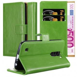 Cadorabo Hülle für LG K10 2016 in GRAS GRÜN ? Handyhülle mit Magnetverschluss, Standfunktion und Kartenfach ? Case Cover Schutzhülle Etui Tasche Book Klapp Style